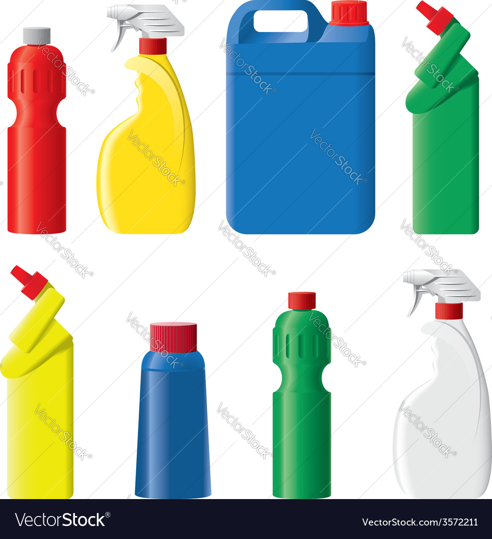 Set of plastic detergent bottles vector | Price: 1 Credit (USD $1)