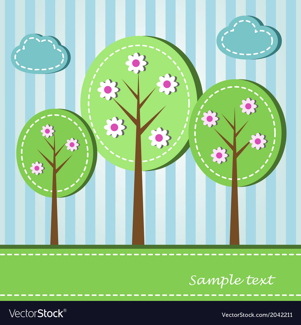 Spring blooming trees dashed style vector | Price: 1 Credit (USD $1)