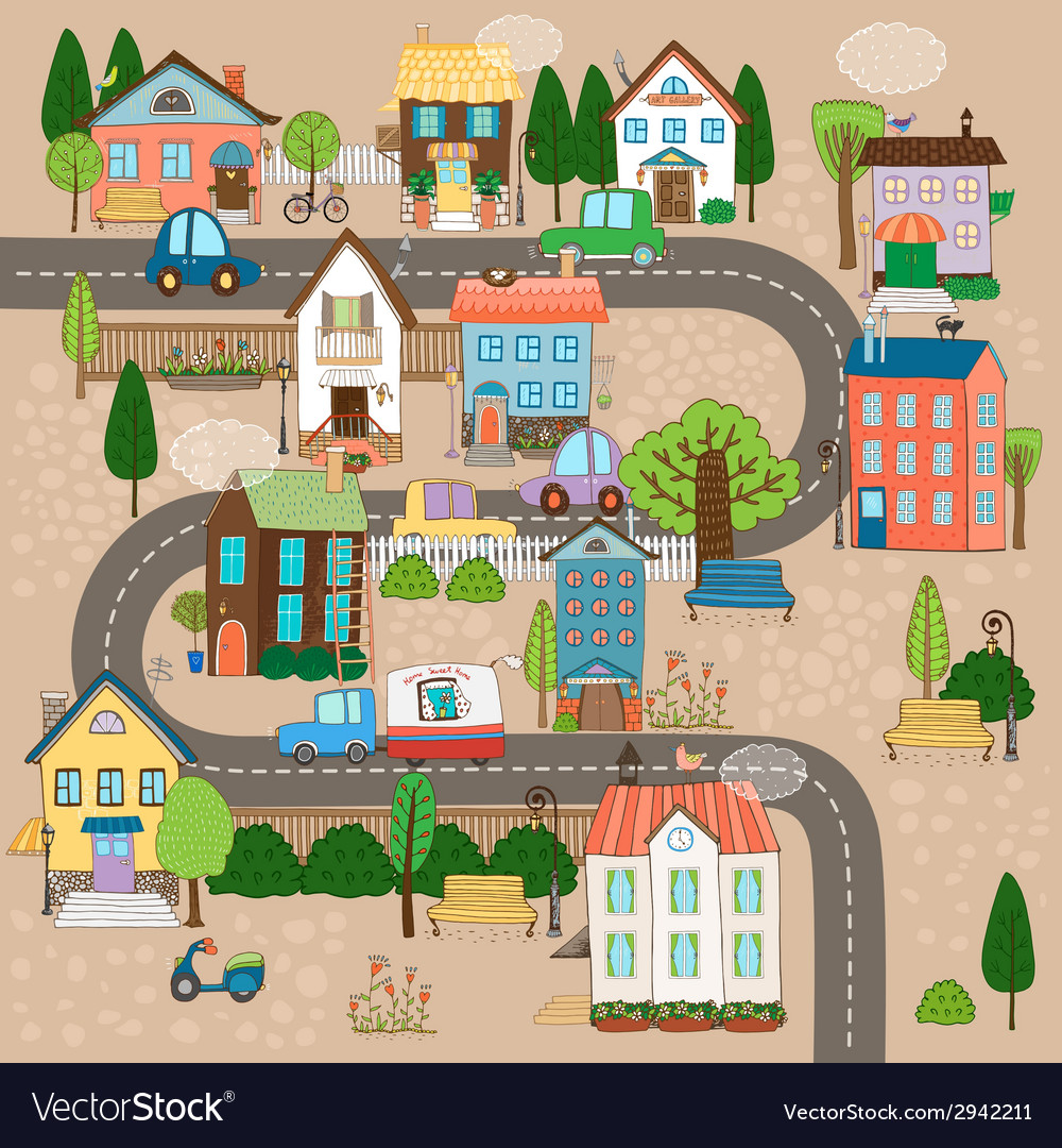 Town on road vector | Price: 1 Credit (USD $1)
