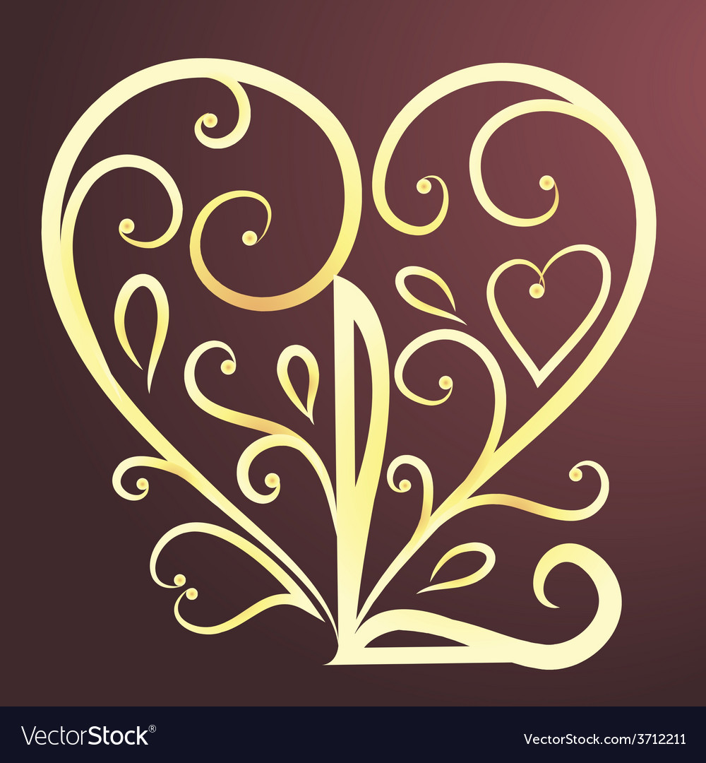 Vintage card with floral heart i love you vector | Price: 1 Credit (USD $1)