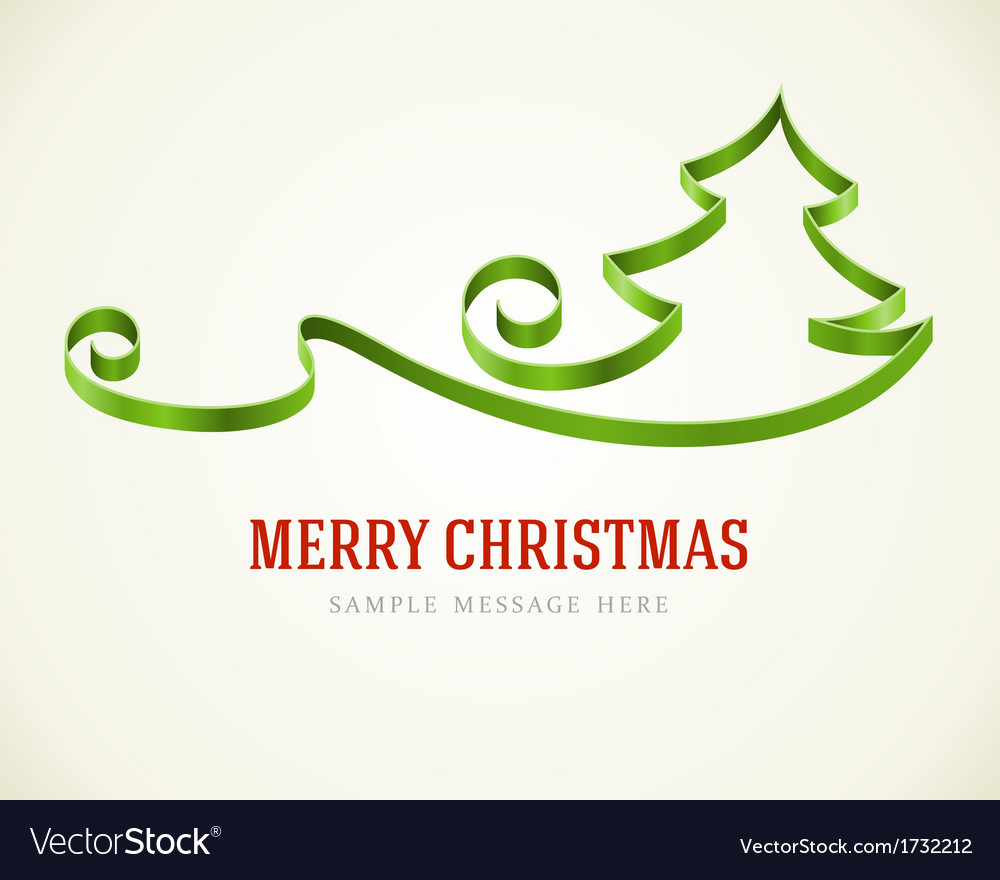 Christmas green tree from ribbon background vector | Price: 1 Credit (USD $1)