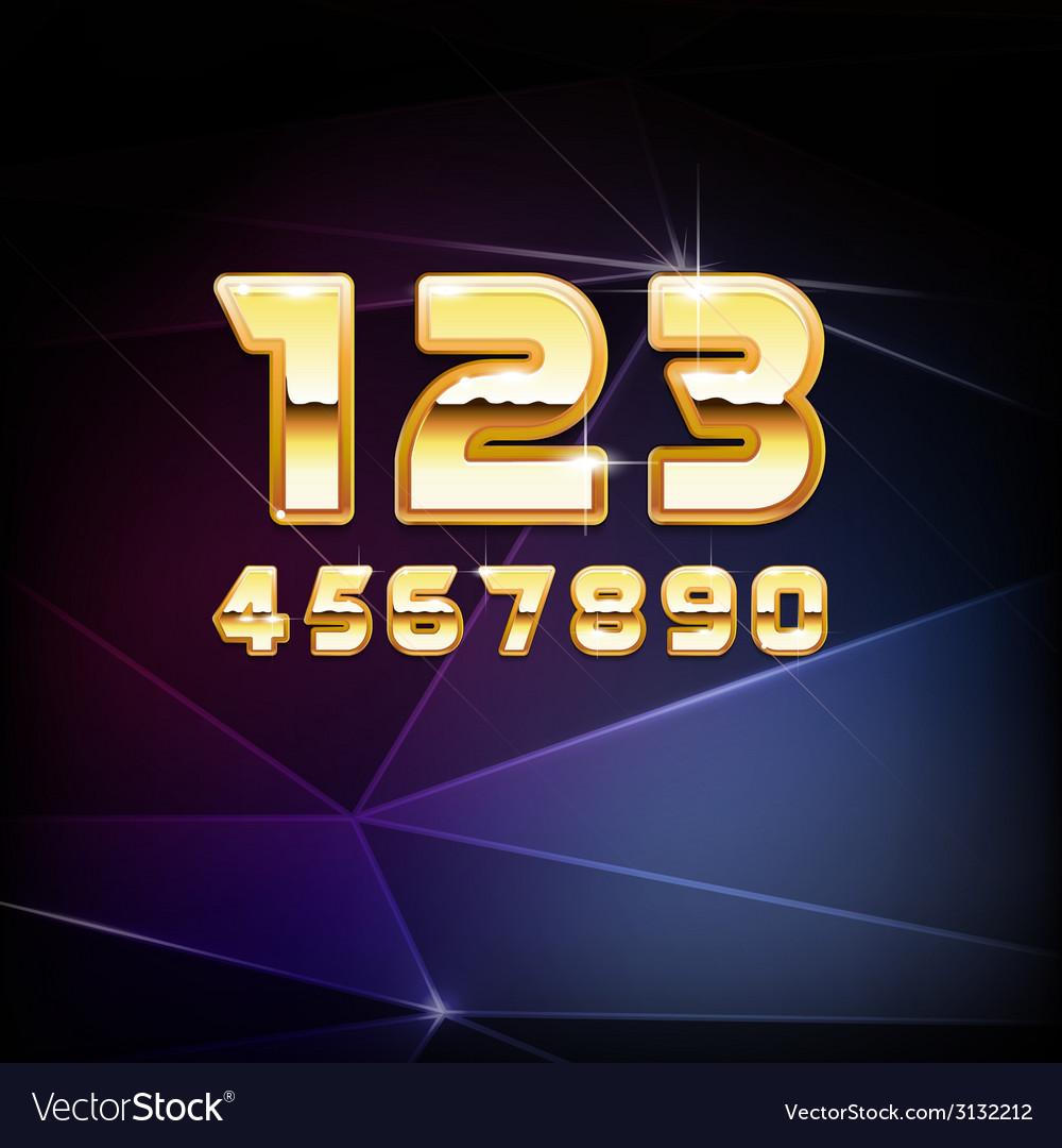 Golden shiny alphabet digits vector | Price: 1 Credit (USD $1)