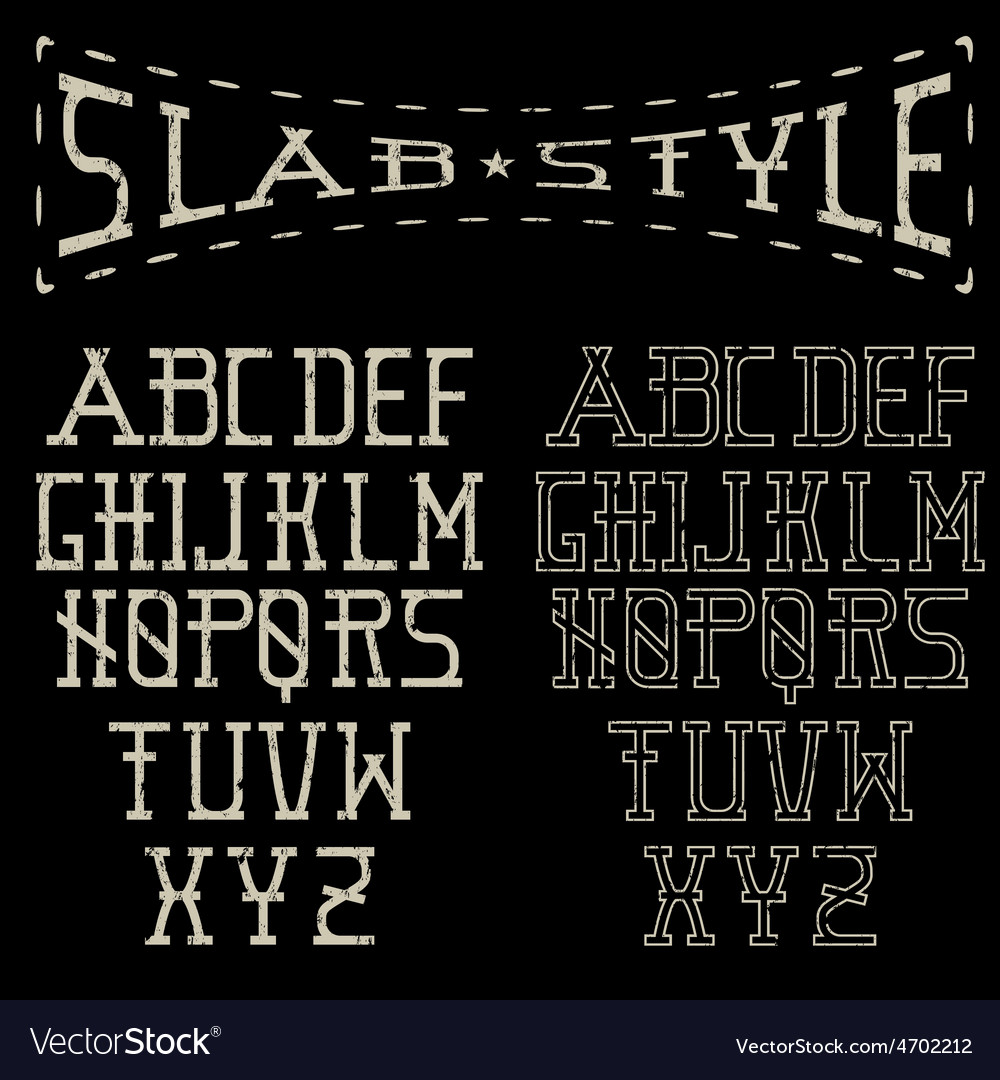 Grunge slab style alphabet vector | Price: 1 Credit (USD $1)