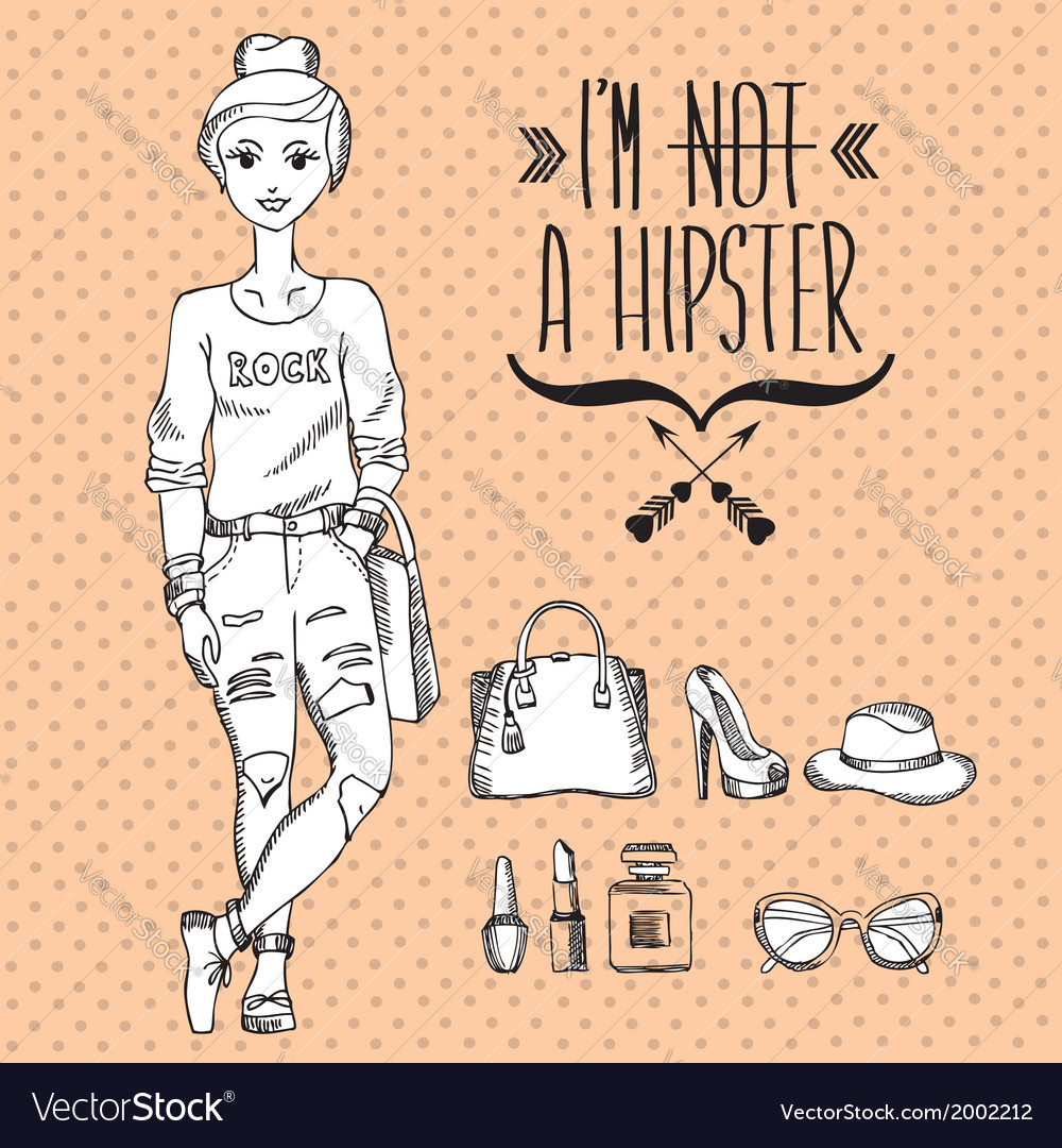 Hipster girl fashion geek character vector | Price: 1 Credit (USD $1)
