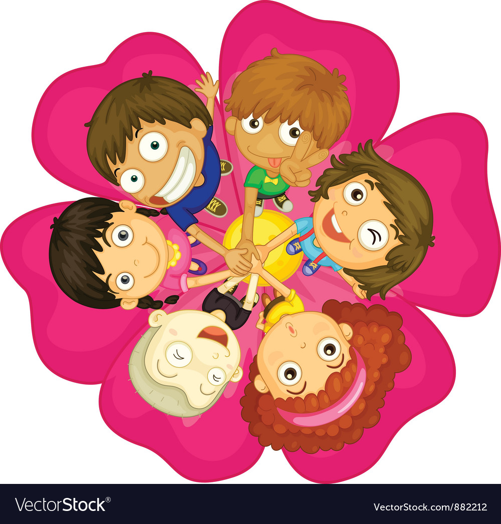 Kids on a flower vector | Price: 5 Credit (USD $5)