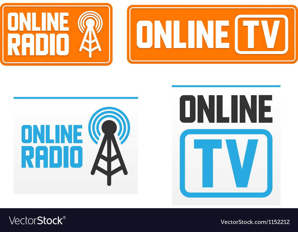 Online radio and tv signs vector | Price: 1 Credit (USD $1)