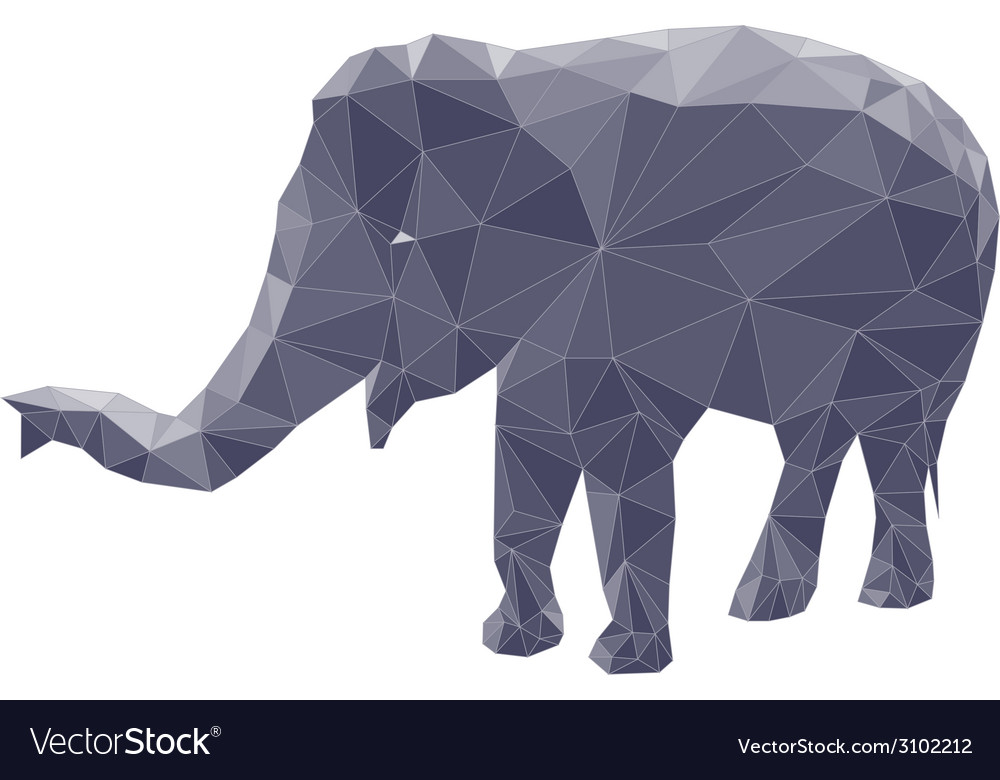 Poligonal elephant 2 vector | Price: 1 Credit (USD $1)