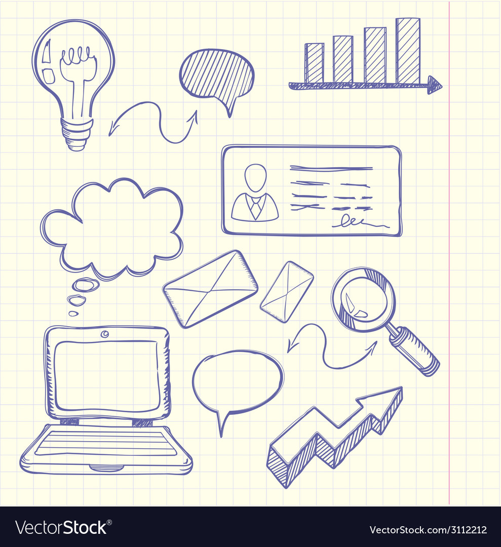 Set of doodle business management vector | Price: 1 Credit (USD $1)