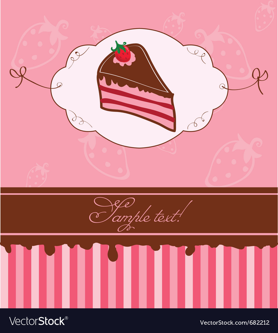 Strawberry cake card vector | Price: 1 Credit (USD $1)
