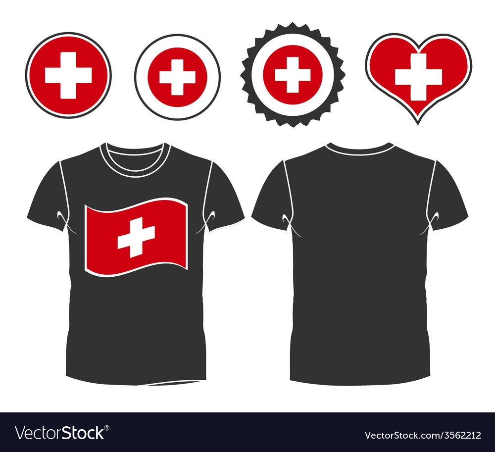 T-shirt with the flag of switzerland vector | Price: 1 Credit (USD $1)