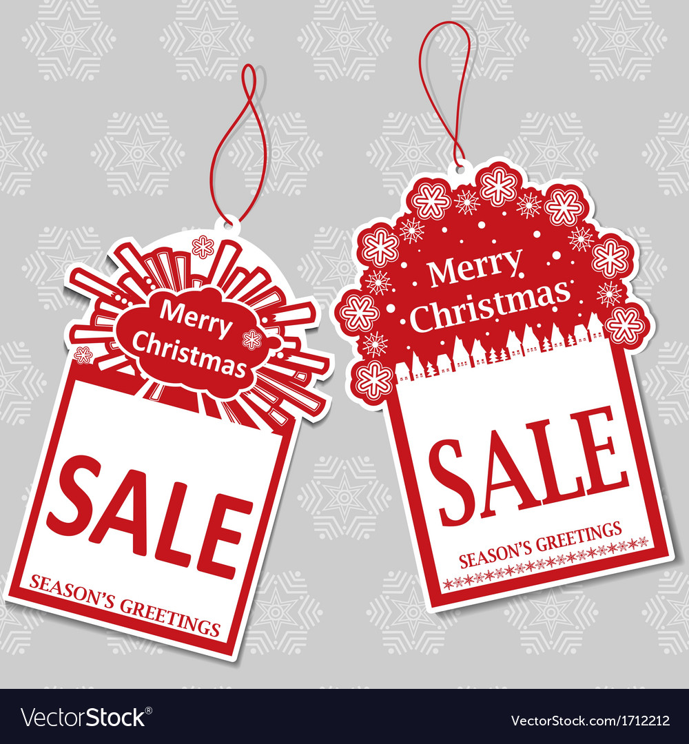 Two christmas sale tags vector | Price: 1 Credit (USD $1)