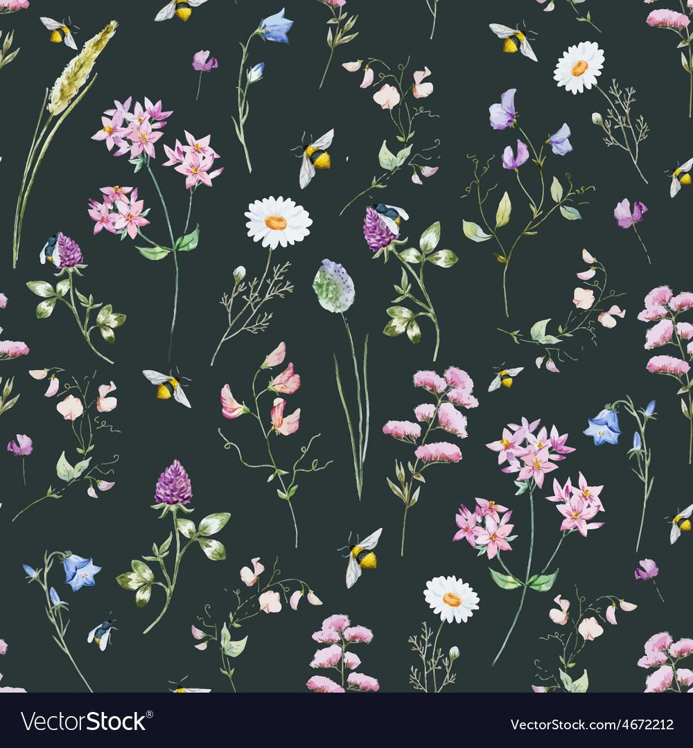 Watercolor wildflower pattern vector | Price: 1 Credit (USD $1)