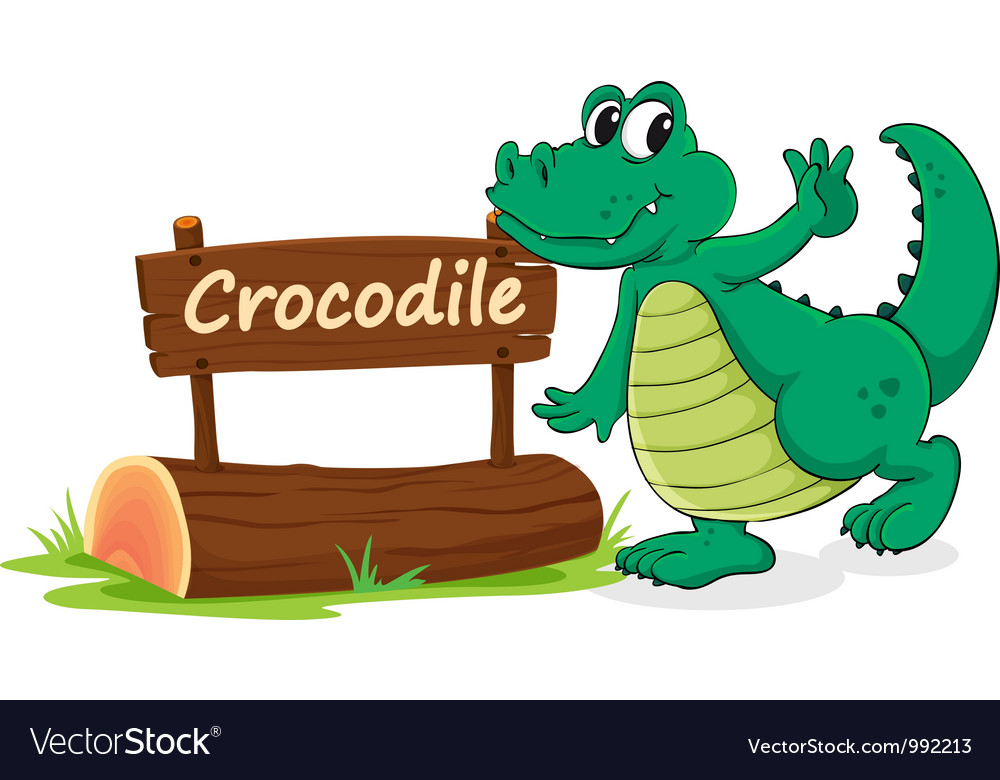 Cartoon zoo crocodile sign vector | Price: 1 Credit (USD $1)
