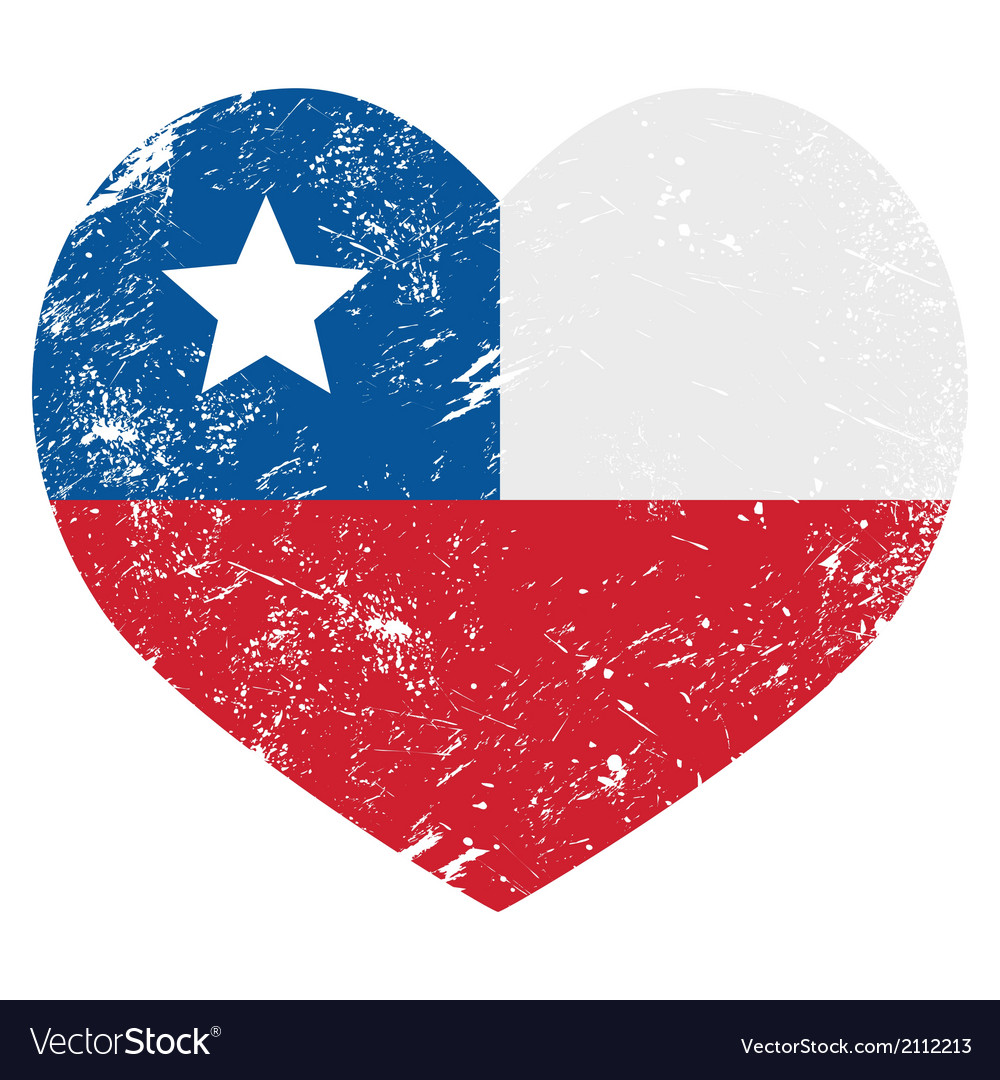 Chile retro heart shaped flag vector | Price: 1 Credit (USD $1)