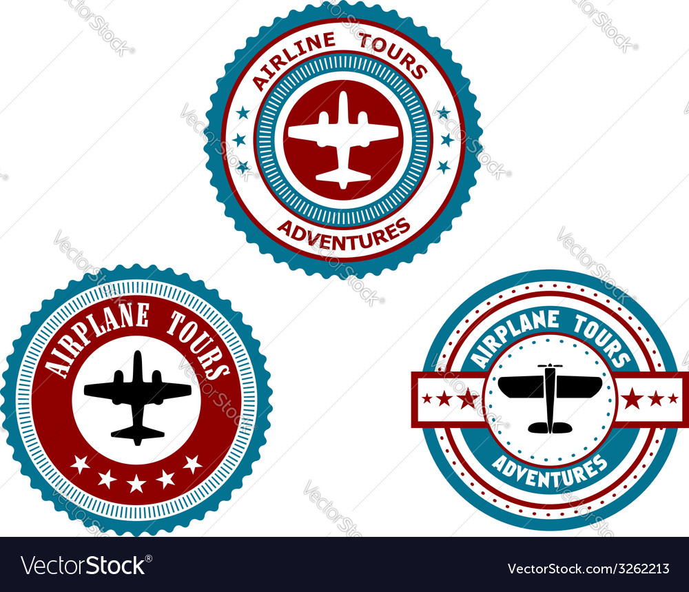 Circular badges for airplane tours vector | Price: 1 Credit (USD $1)