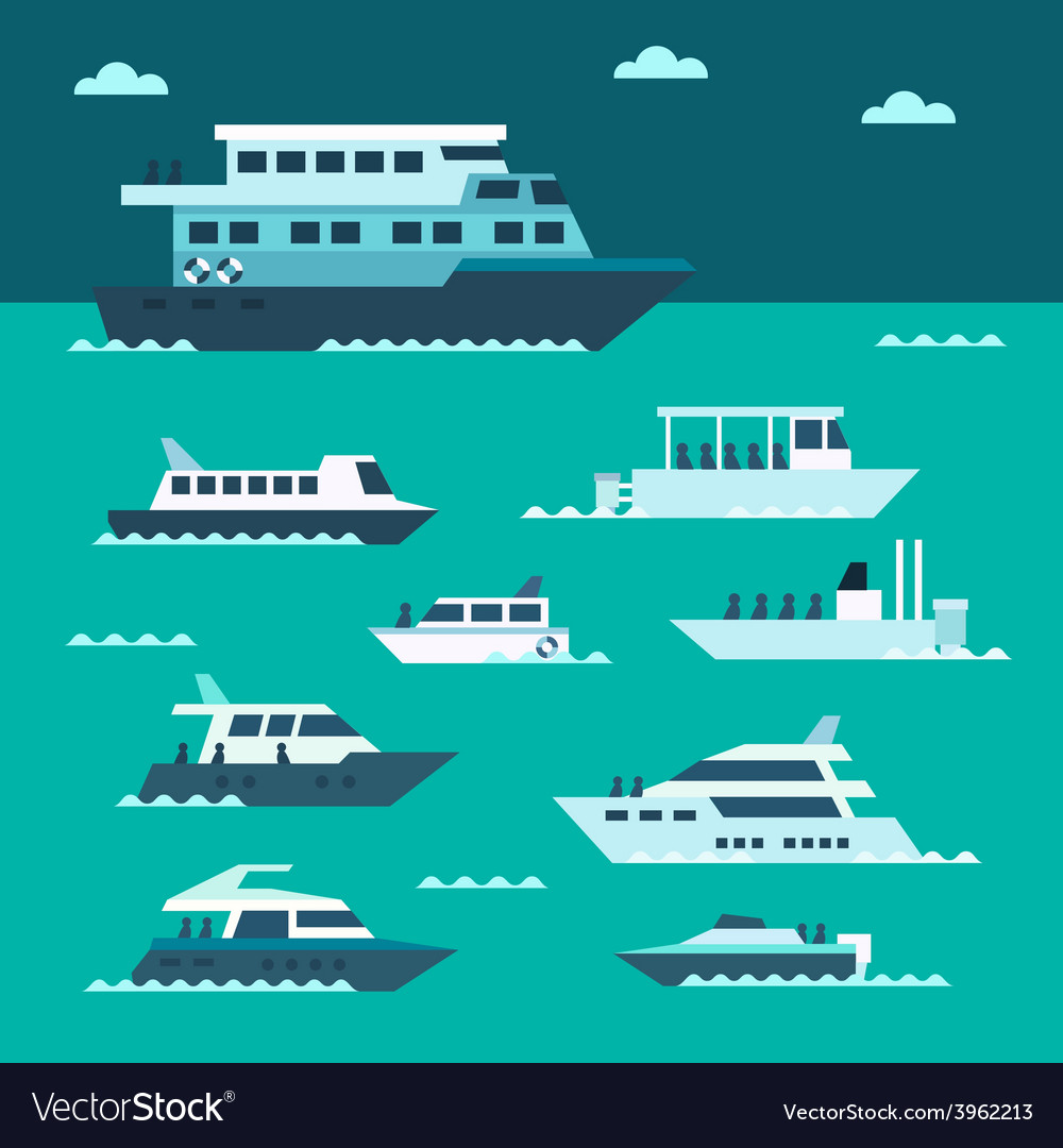 Flat design of boat set vector | Price: 1 Credit (USD $1)