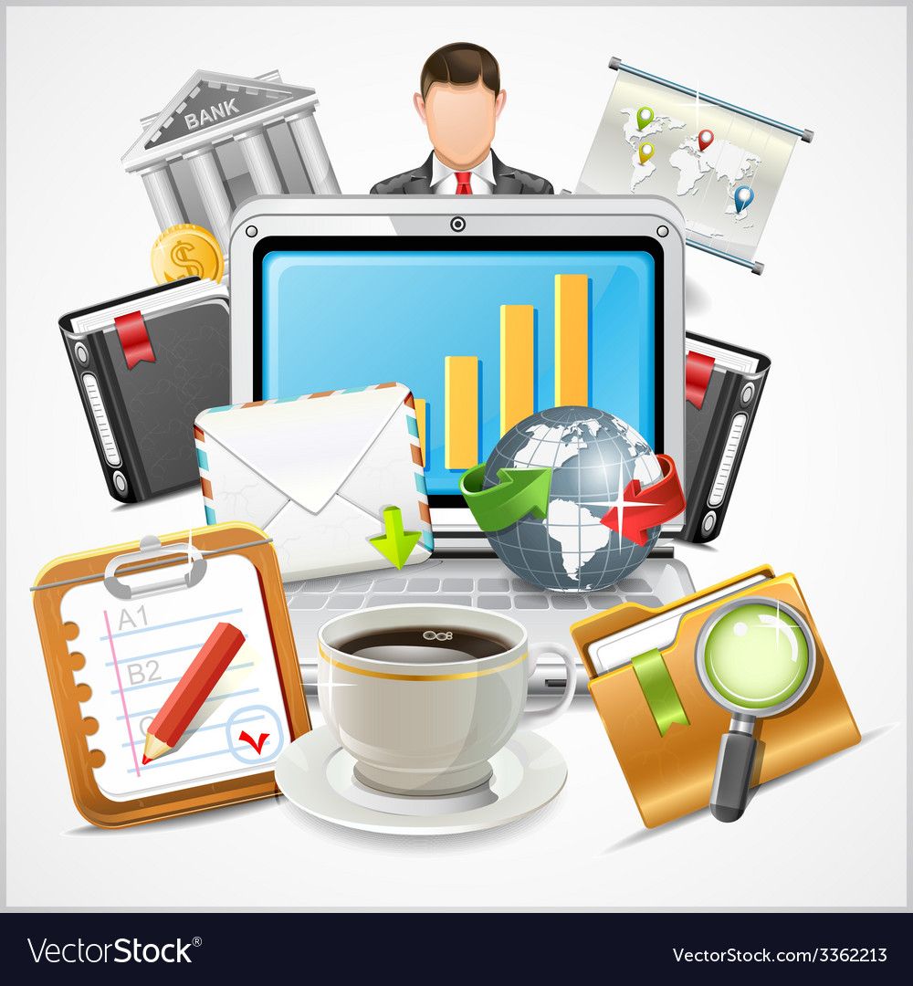Icons workplace items of business vector | Price: 3 Credit (USD $3)