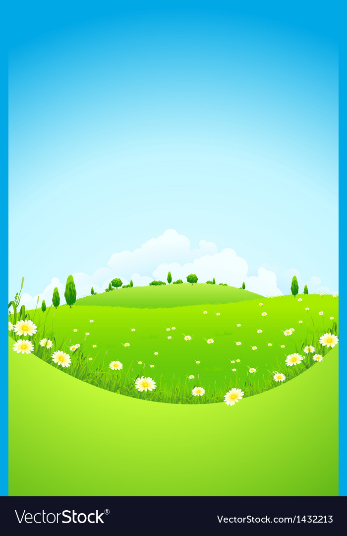 Landscape with green trees and fields vector | Price: 1 Credit (USD $1)