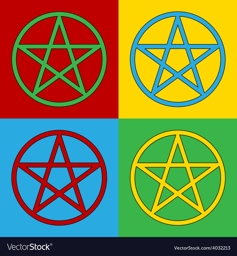 Pop art pentagram icons vector | Price: 1 Credit (USD $1)