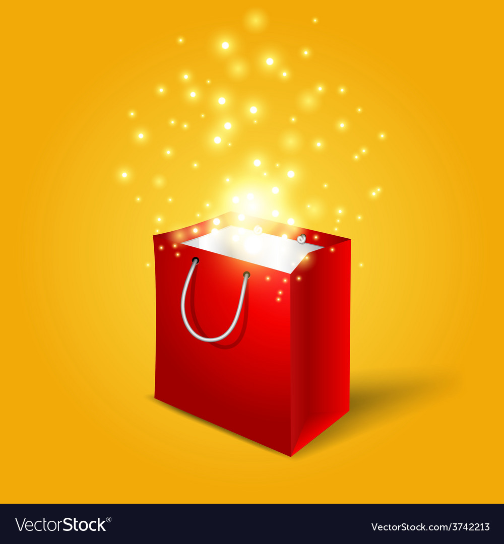 Red shopping bag with magic light fireworks from vector | Price: 1 Credit (USD $1)