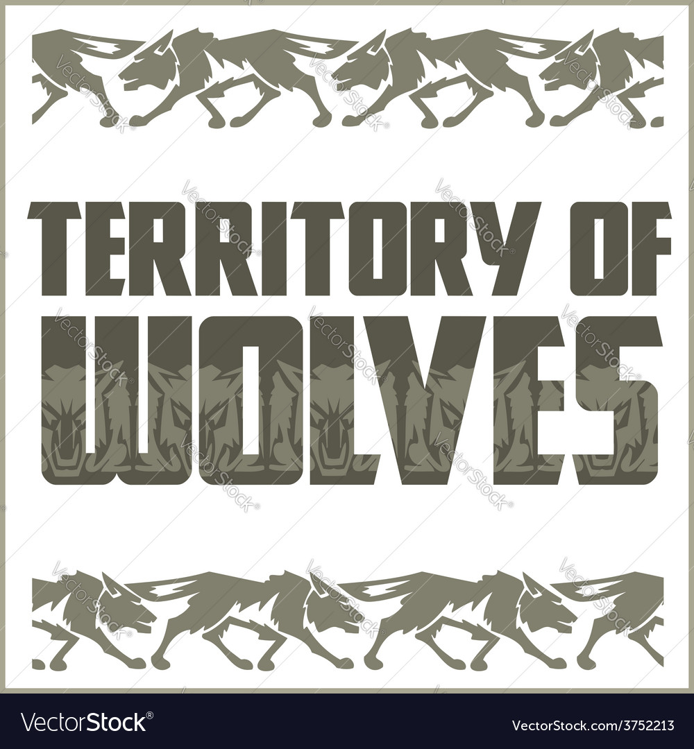Retro ornament - running wolves and inscriptions vector | Price: 1 Credit (USD $1)