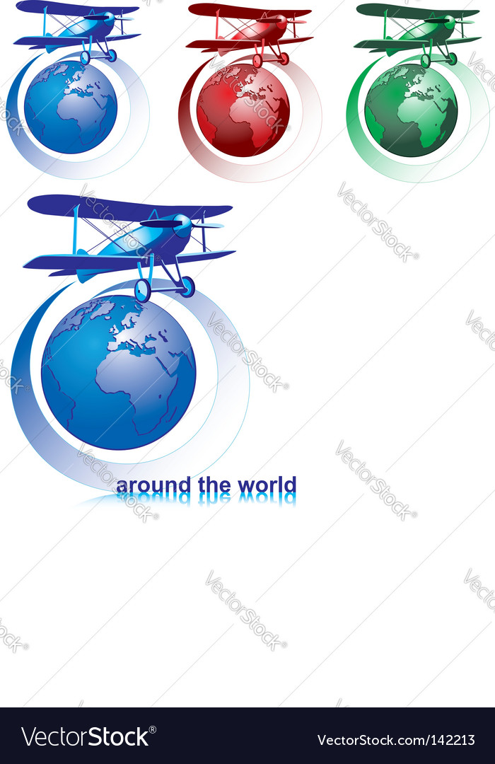 World with plane vector | Price: 1 Credit (USD $1)