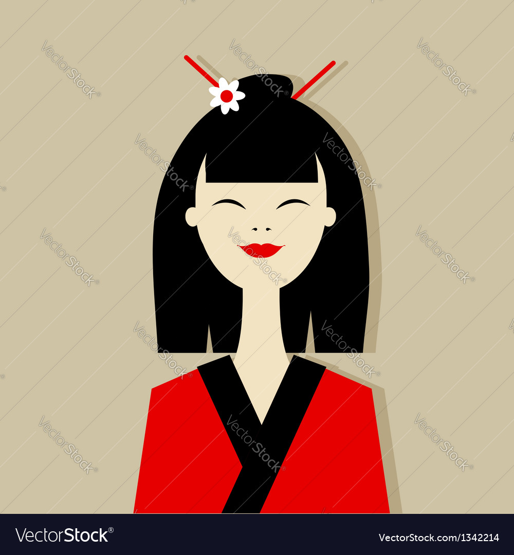 Asian woman portrait for your design vector | Price: 1 Credit (USD $1)