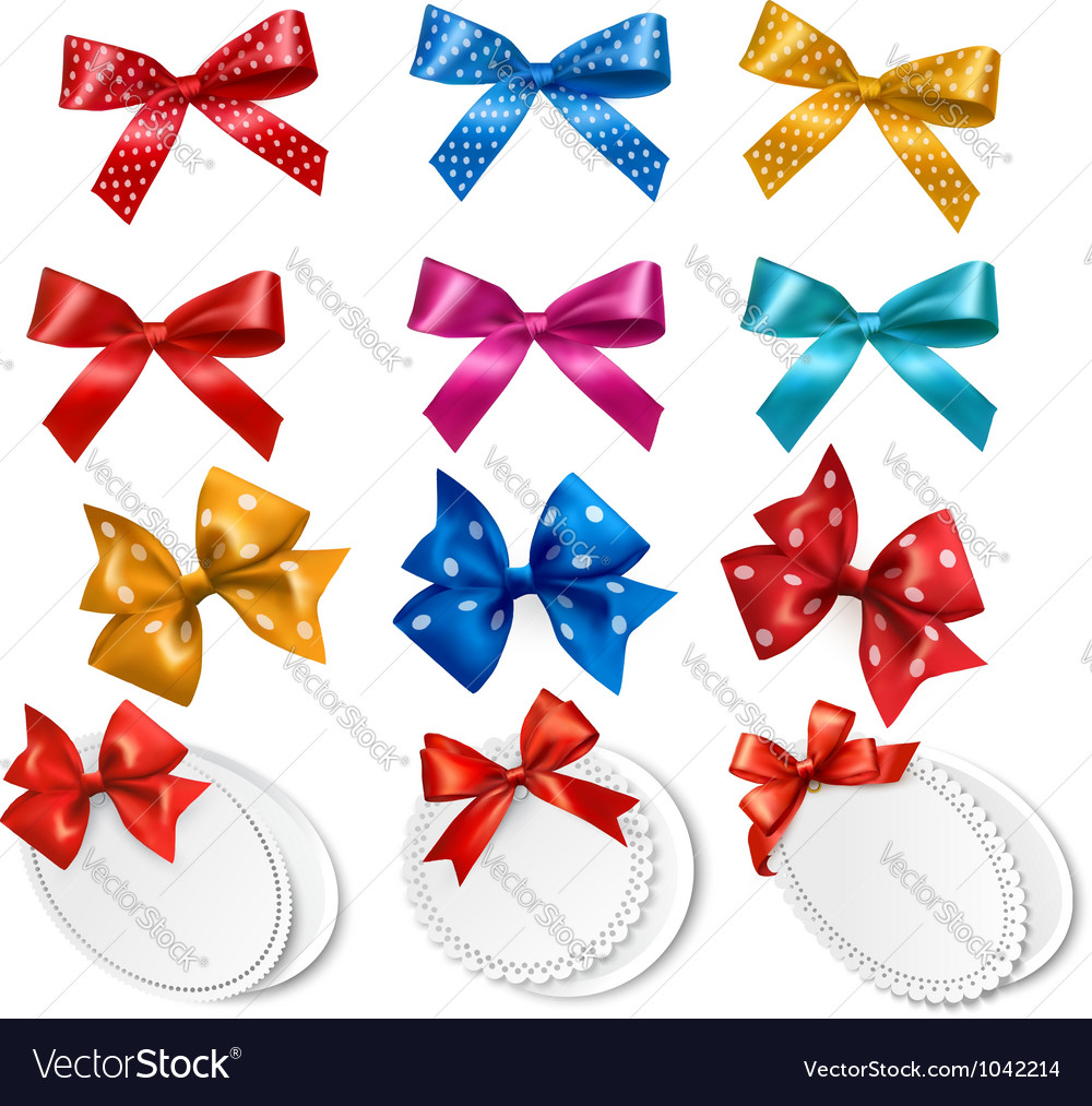 Big collection of colorful gift bows and labels vector | Price: 1 Credit (USD $1)