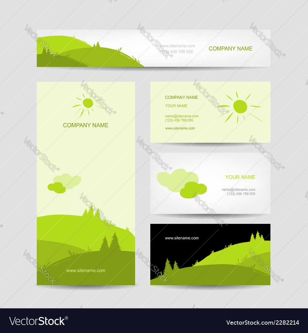 Business cards design with green meadow background vector | Price: 1 Credit (USD $1)