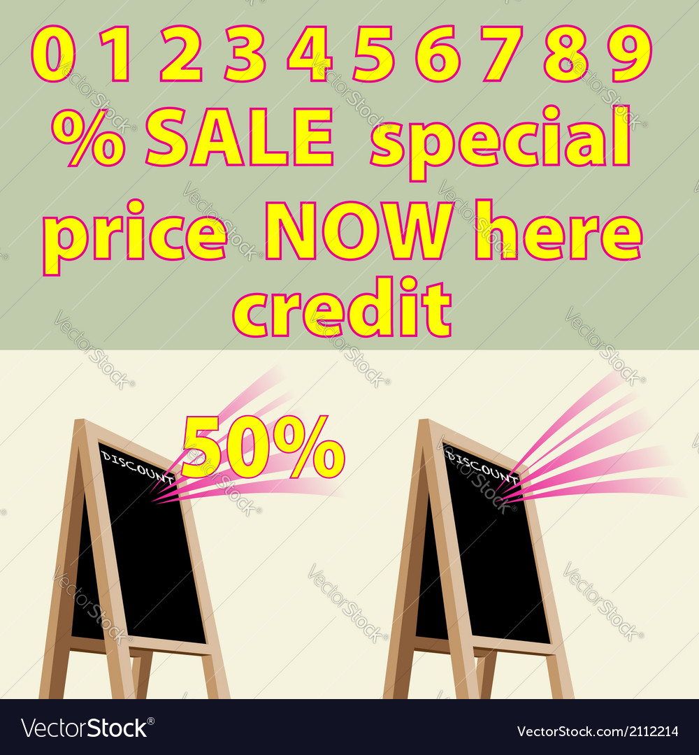 Discount storefront chalkboard labels to right vector | Price: 1 Credit (USD $1)