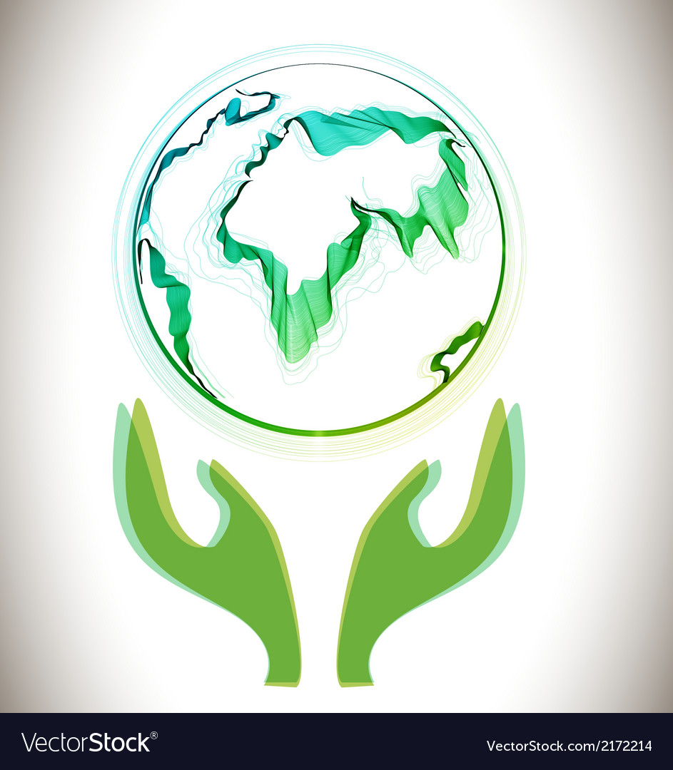 Globe abstract icon with green hands vector | Price: 1 Credit (USD $1)