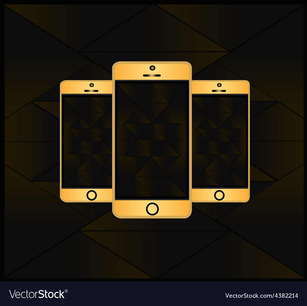 Gold smart phone vector | Price: 1 Credit (USD $1)