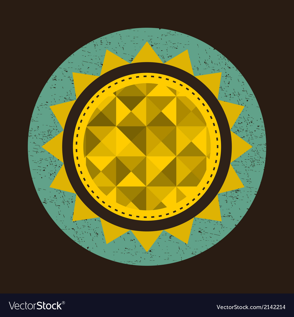 Golden sun in retro style with triangles vector | Price: 1 Credit (USD $1)