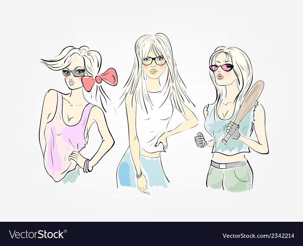 Group of three girls vector | Price: 1 Credit (USD $1)