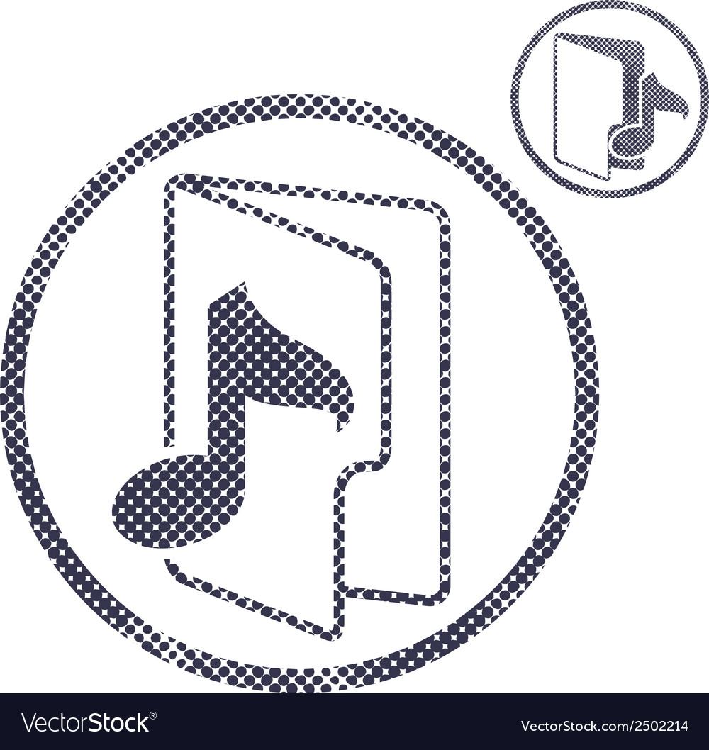 Music folder icon with halftone dots print texture vector | Price: 1 Credit (USD $1)