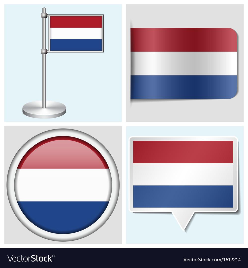 Netherlands flag - sticker button label vector | Price: 1 Credit (USD $1)