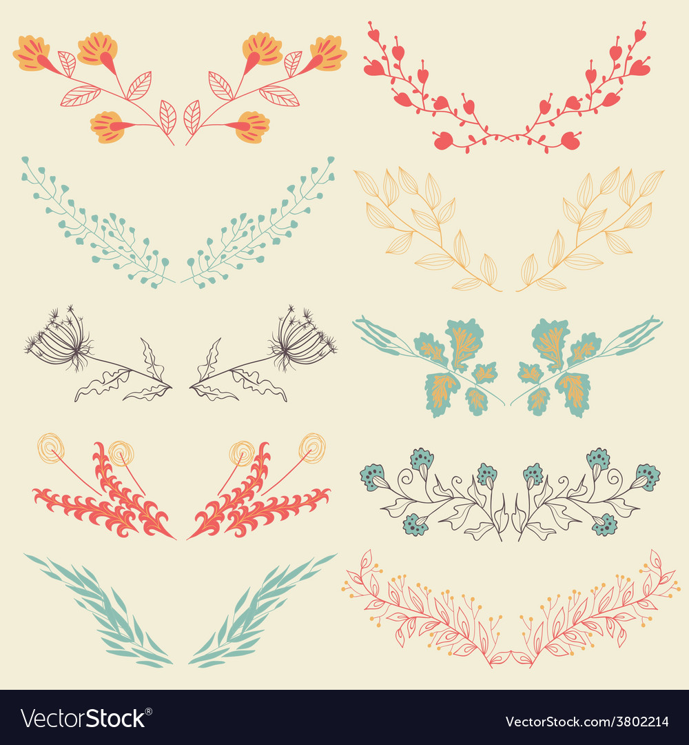 Set of hand drawn symmetrical floral graphic vector | Price: 1 Credit (USD $1)