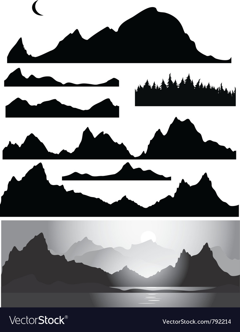 Set of landscapes silhouette vector
