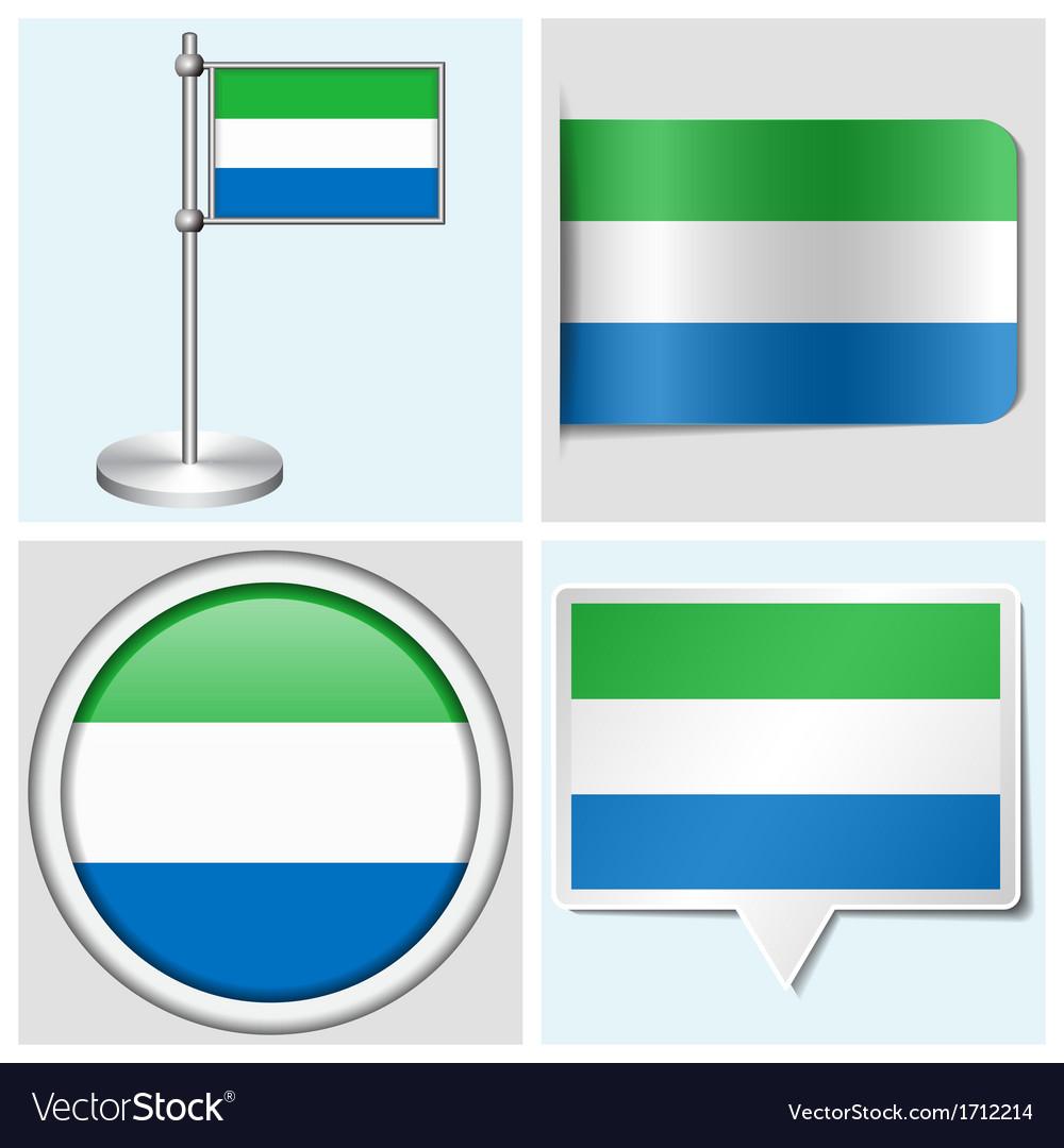 Sierra leone flag - sticker button label vector | Price: 1 Credit (USD $1)