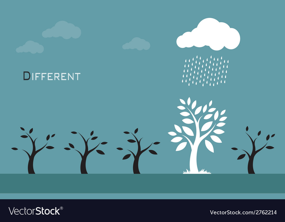 Trees clouds and rain vector | Price: 1 Credit (USD $1)
