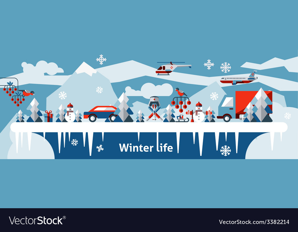 Winter life background vector