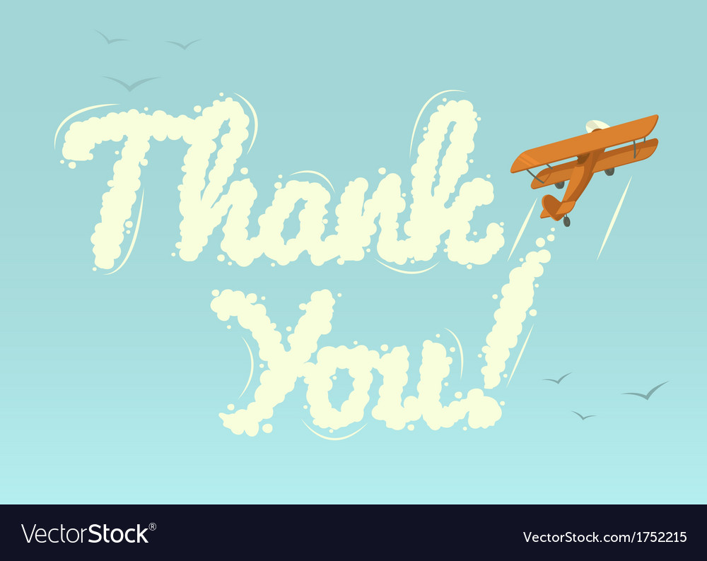 Biplane with word thank you vector | Price: 1 Credit (USD $1)