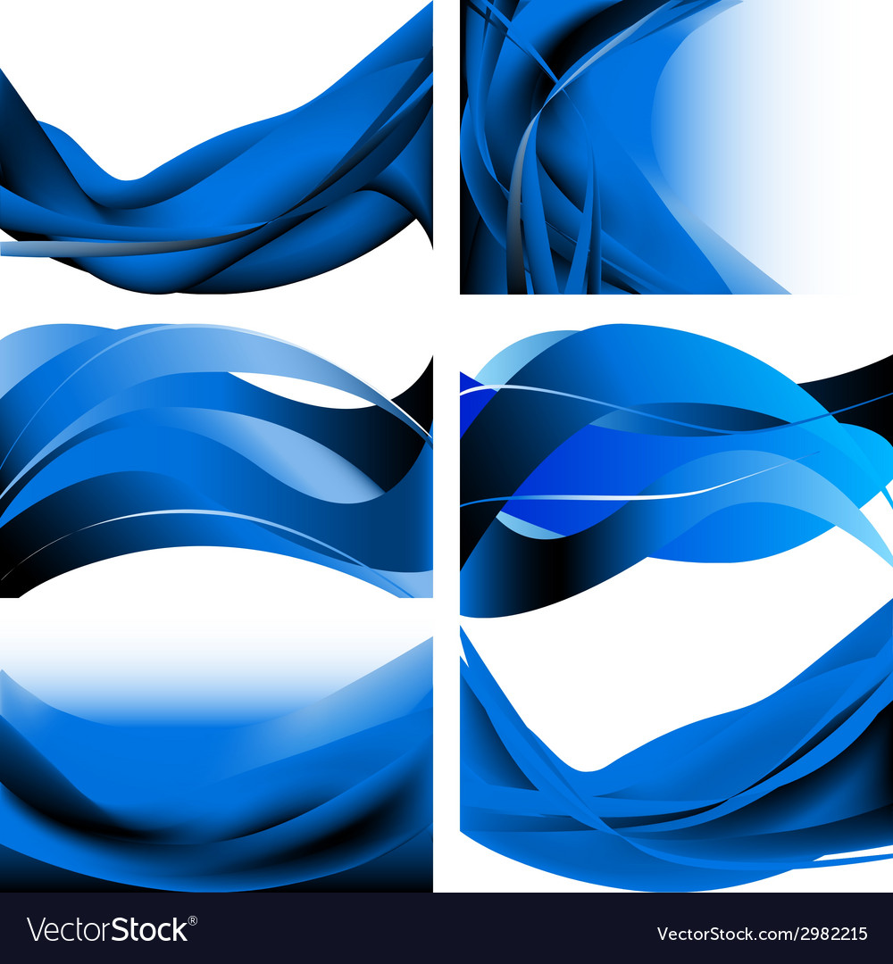 Blue dark waves isolated set on white background vector | Price: 1 Credit (USD $1)