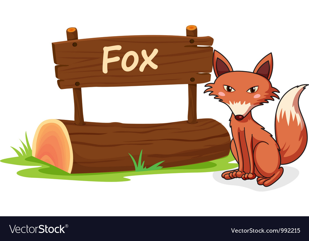 Cartoon zoo fox sign vector | Price: 1 Credit (USD $1)