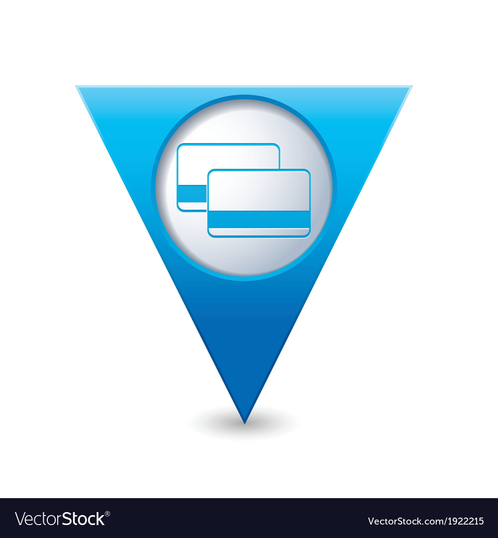 Credit cards icon map pointer blue vector | Price: 1 Credit (USD $1)