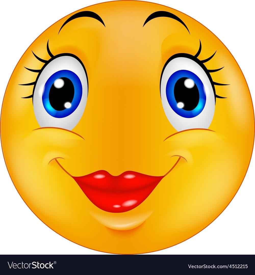 Cute female emoticon smiley vector | Price: 1 Credit (USD $1)