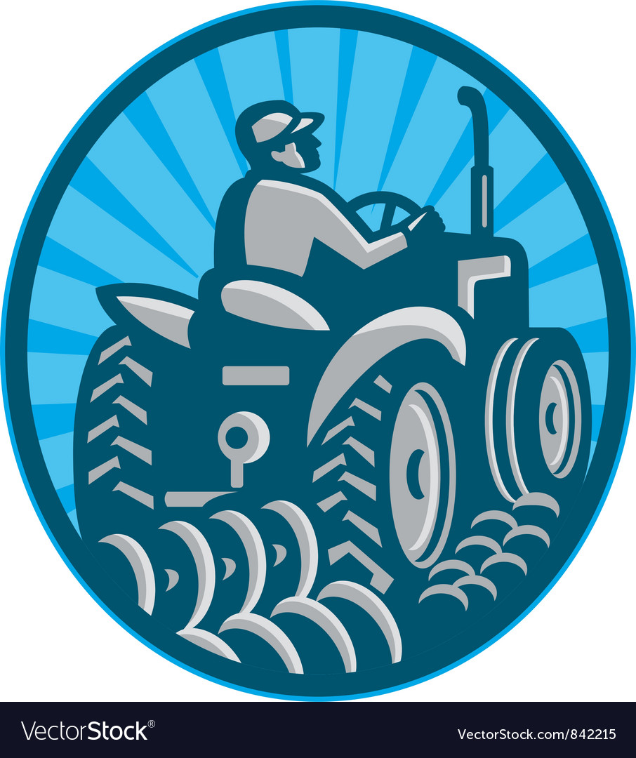 Farmer plowing with tractor vector | Price: 1 Credit (USD $1)