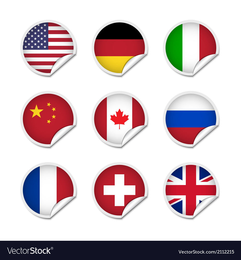 Flag stickers set 1 vector | Price: 1 Credit (USD $1)
