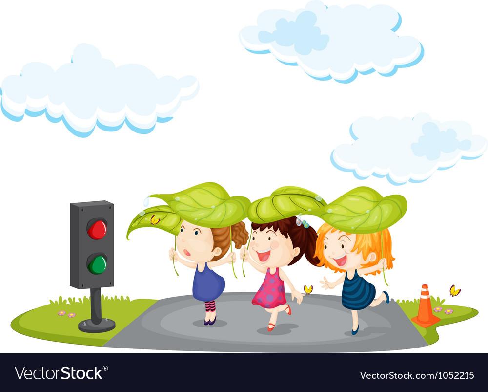 Kids crossing street vector | Price: 1 Credit (USD $1)