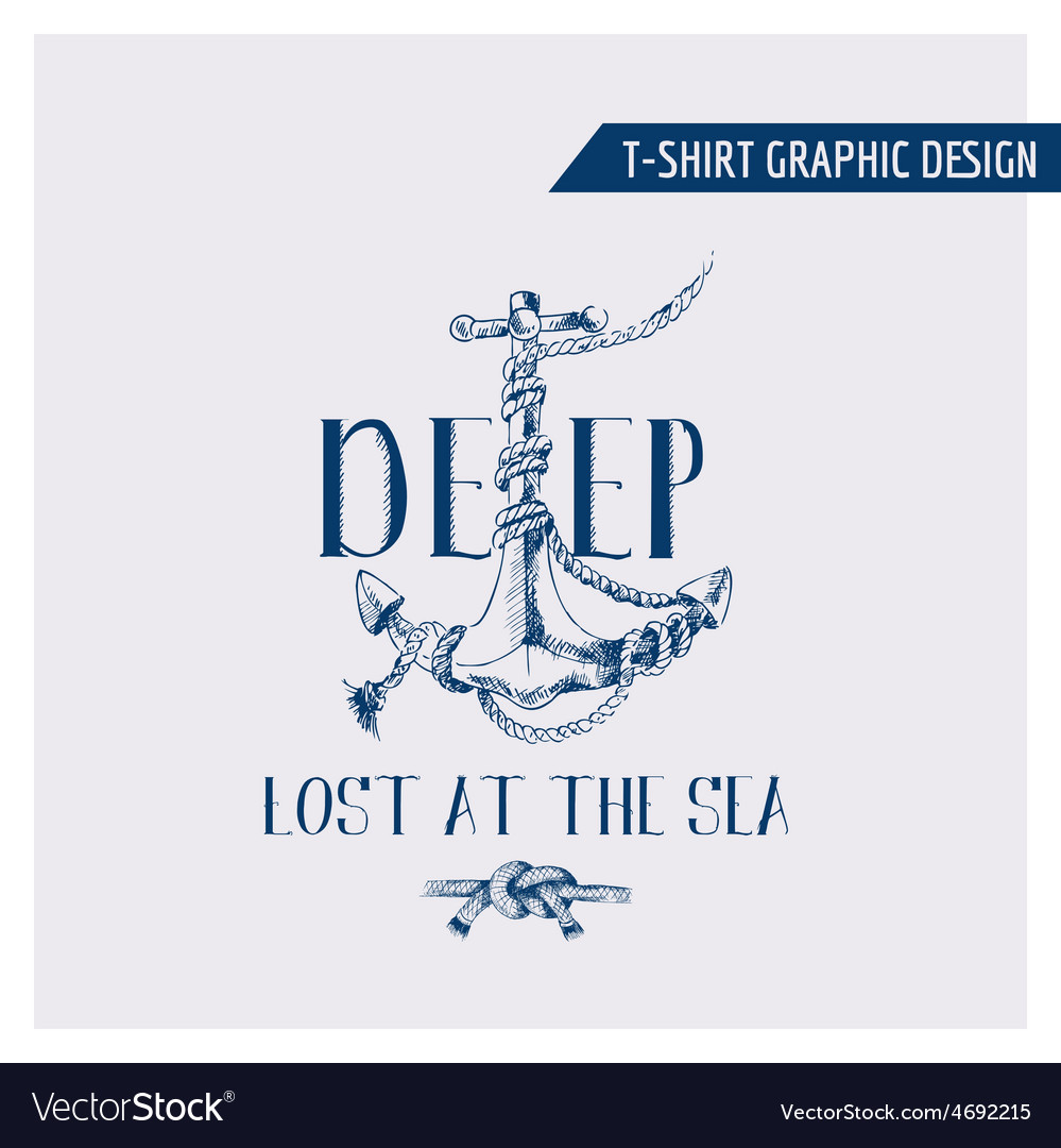 Nautical anchor graphic design - for t-shirt vector | Price: 1 Credit (USD $1)